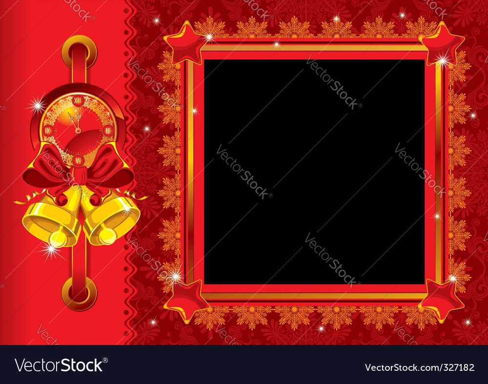 Christmas photo frame with bells vector | Price: 1 Credit (USD $1)