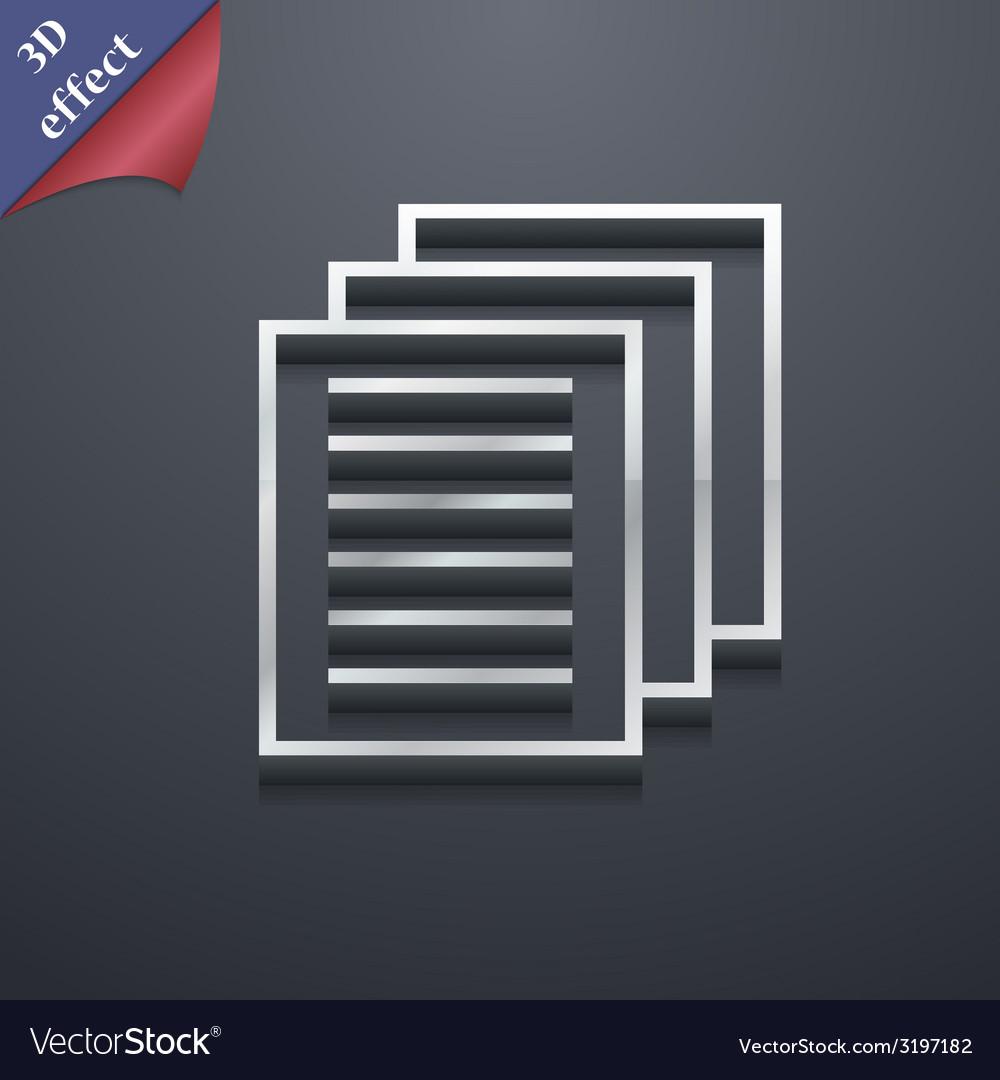 Copy file icon symbol 3d style trendy modern vector | Price: 1 Credit (USD $1)
