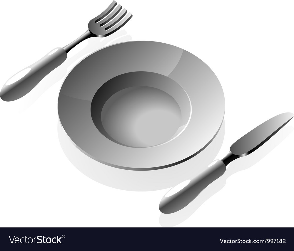 Plate and silverware vector | Price: 1 Credit (USD $1)