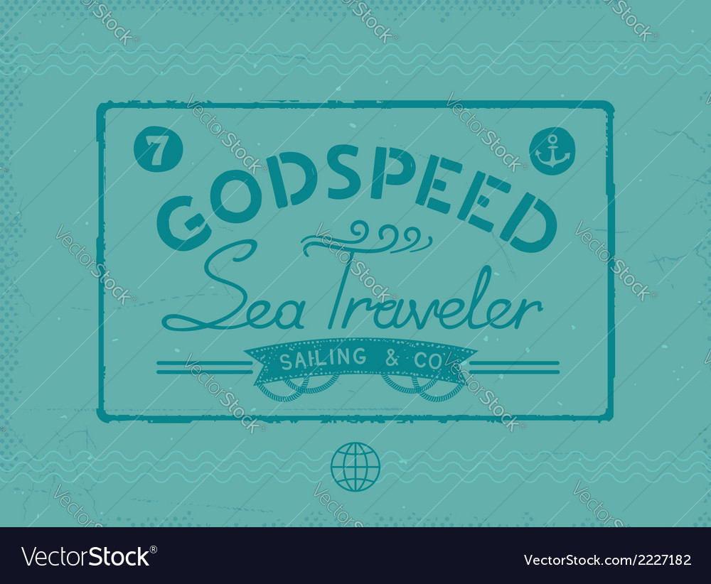 Retro sea traveler print vector | Price: 1 Credit (USD $1)
