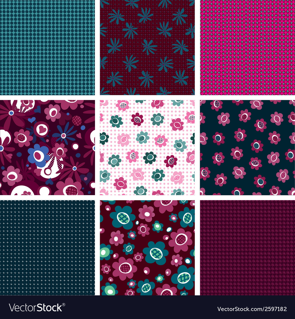 Set of seamless patterns with flowers vector | Price: 1 Credit (USD $1)