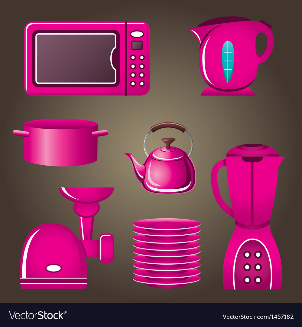 Set pink cookware and kitchen appliances vector | Price: 1 Credit (USD $1)