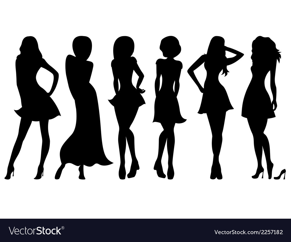 Six slim attractive women silhouettes vector | Price: 1 Credit (USD $1)