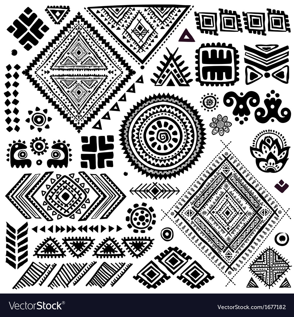Tribal vintage ethnic pattern set vector | Price: 1 Credit (USD $1)