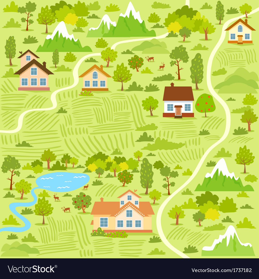 Village map vector | Price: 1 Credit (USD $1)