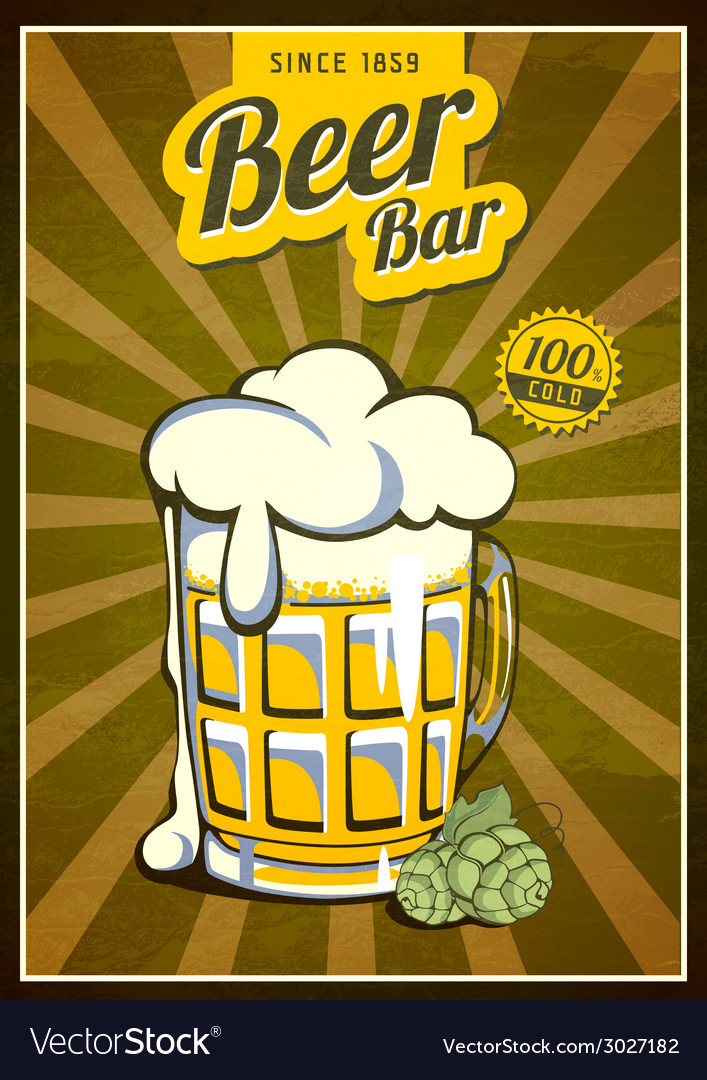 Vintage beer or brewery poster vector   Price: 1 Credit (USD $1)