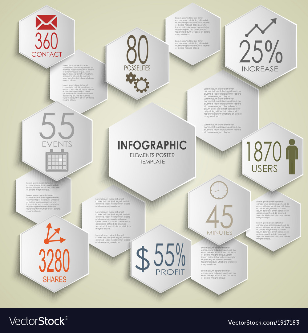 Abstract hexagon info graphic poster template vector | Price: 1 Credit (USD $1)