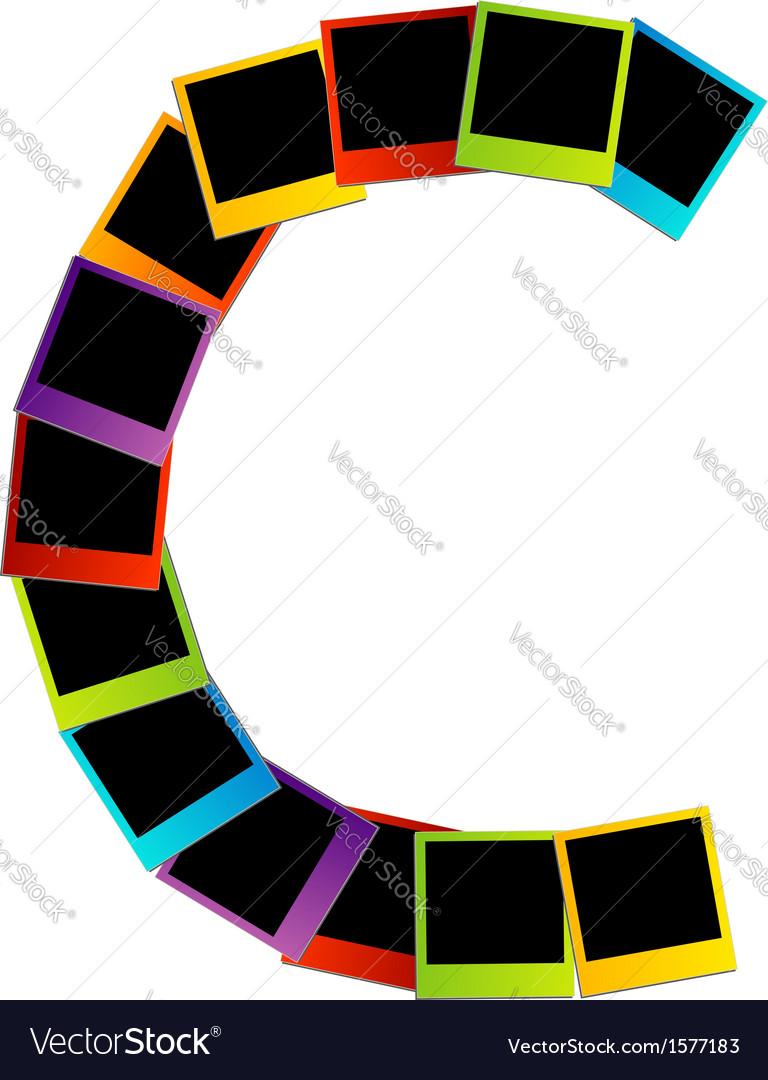 Alphabet c with colorful polaroids vector | Price: 1 Credit (USD $1)