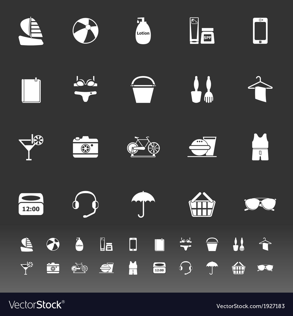 Beach icons on gray background vector | Price: 1 Credit (USD $1)
