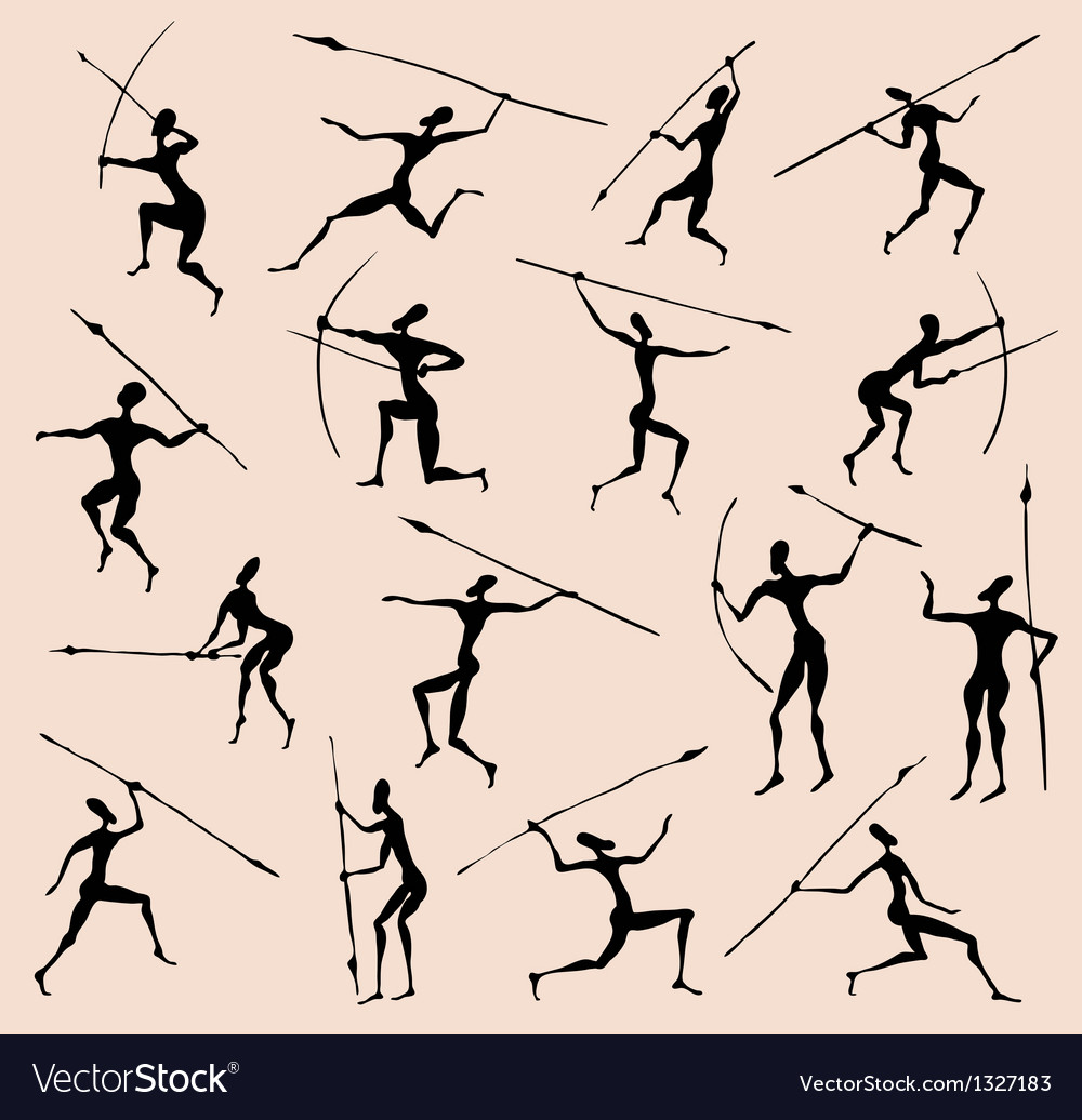 Cave rock painting tribal people silhouettes set vector | Price: 1 Credit (USD $1)