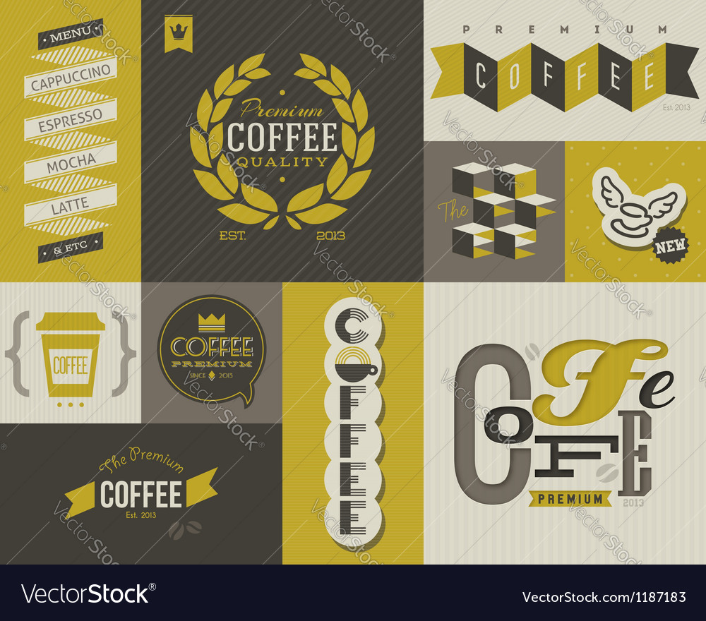 Coffee labels and emblems  collection of design vector