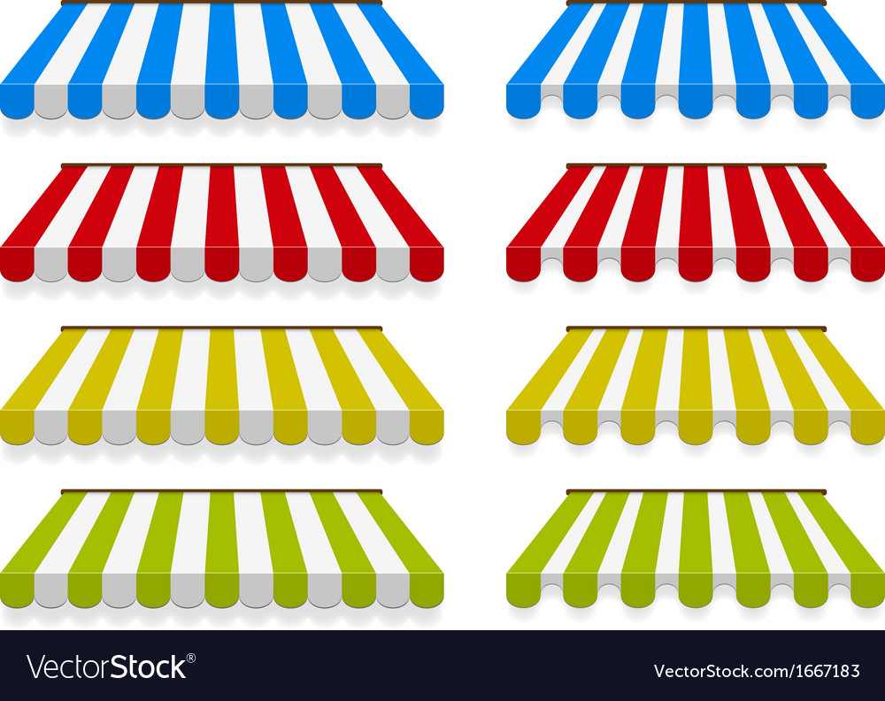 Colored awnings set vector | Price: 1 Credit (USD $1)