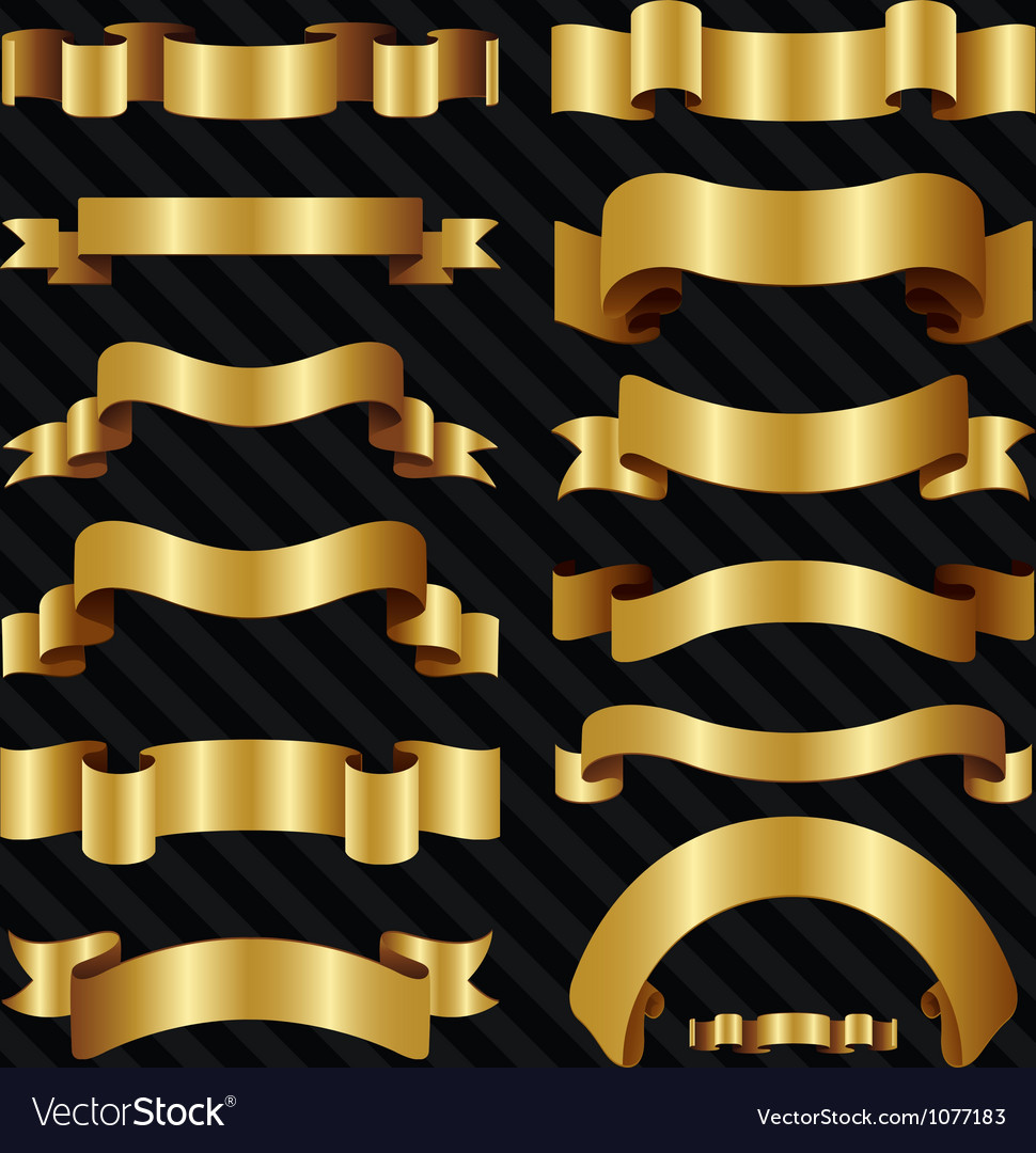 Decorative ornate gold ribbons vector | Price: 1 Credit (USD $1)