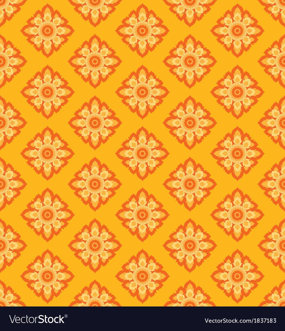 Laithai flower texture yellow pattern vector | Price: 1 Credit (USD $1)