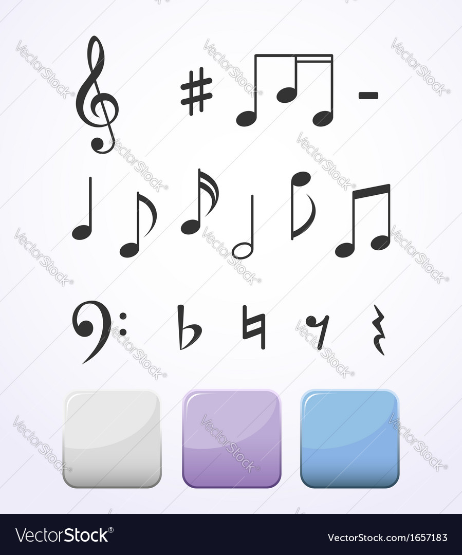 Music notes set vector | Price: 1 Credit (USD $1)