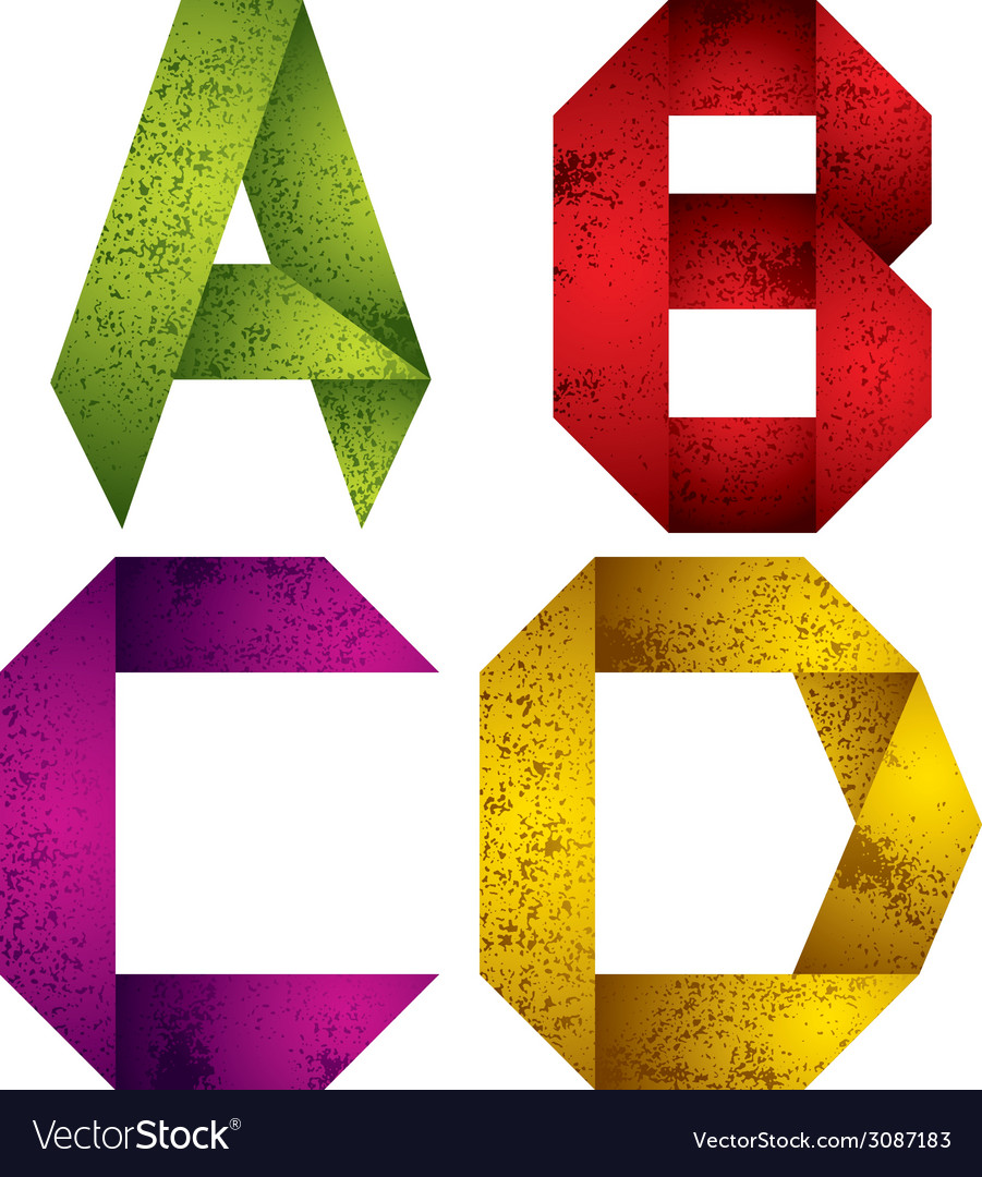 Origami alphabet letters a b c d vector   Price: 1 Credit (USD $1)