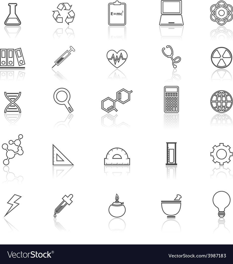 Science line icons with reflect on white vector | Price: 1 Credit (USD $1)