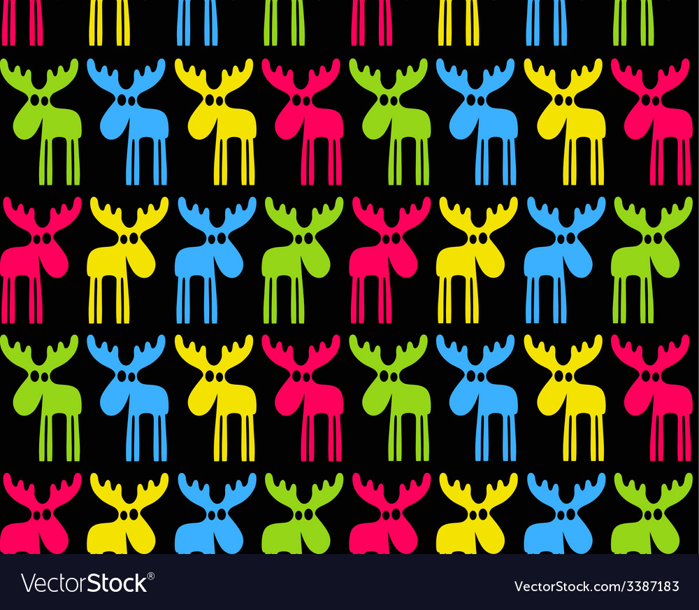 Seamless background with colored elks vector | Price: 1 Credit (USD $1)