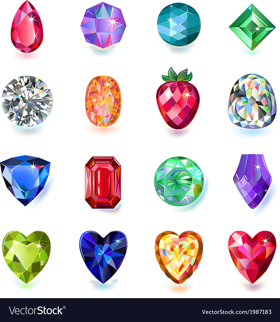 Set of colored gems vector | Price: 1 Credit (USD $1)
