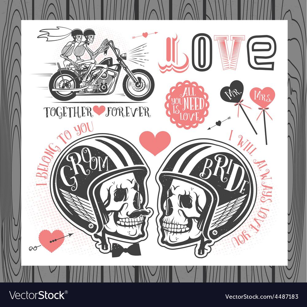 Set of wedding invitation design elements vector | Price: 1 Credit (USD $1)