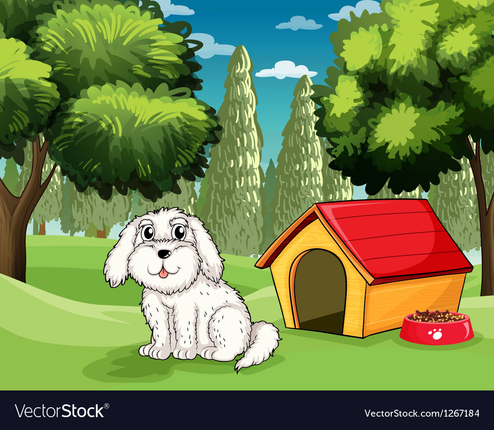 A white puppy outside his doghouse vector | Price: 1 Credit (USD $1)