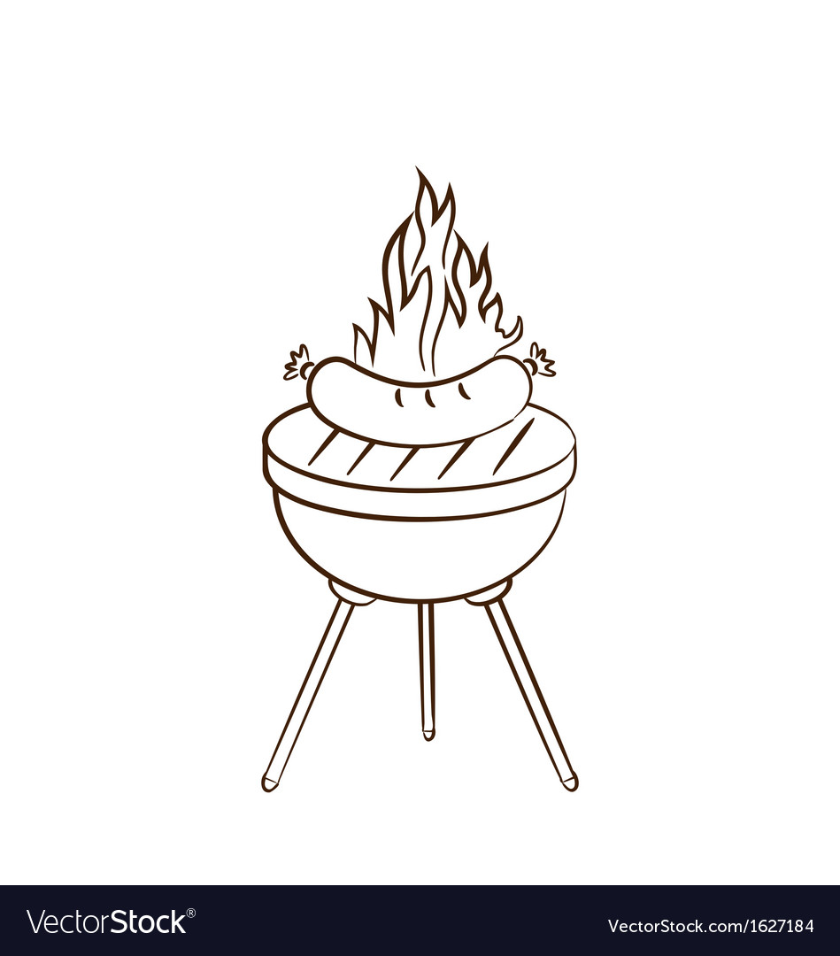 Barbecue with sausage and flame vector | Price: 1 Credit (USD $1)