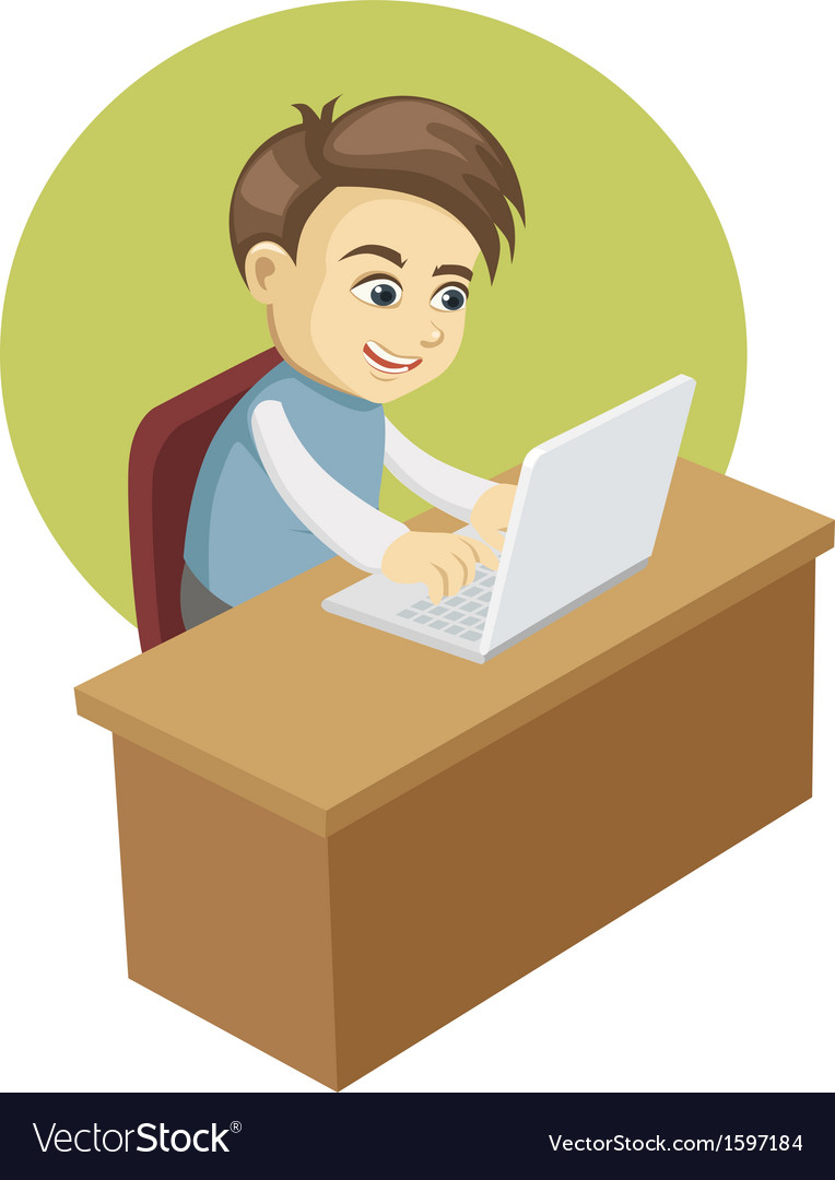 Boy in front of a laptop computer vector | Price: 1 Credit (USD $1)