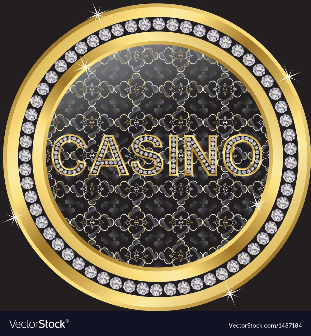 Casino gold sign with diamonds vector | Price: 1 Credit (USD $1)
