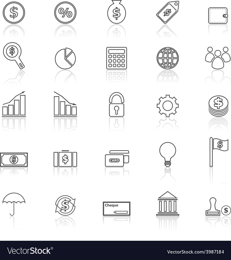 Finance line icons with reflect on white vector | Price: 1 Credit (USD $1)