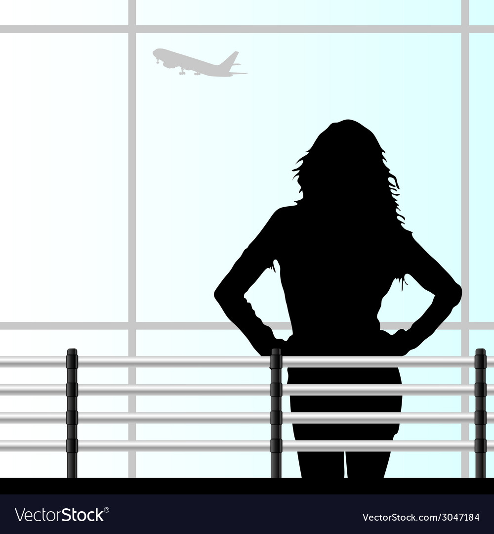 Girl on the airport vector   Price: 1 Credit (USD $1)