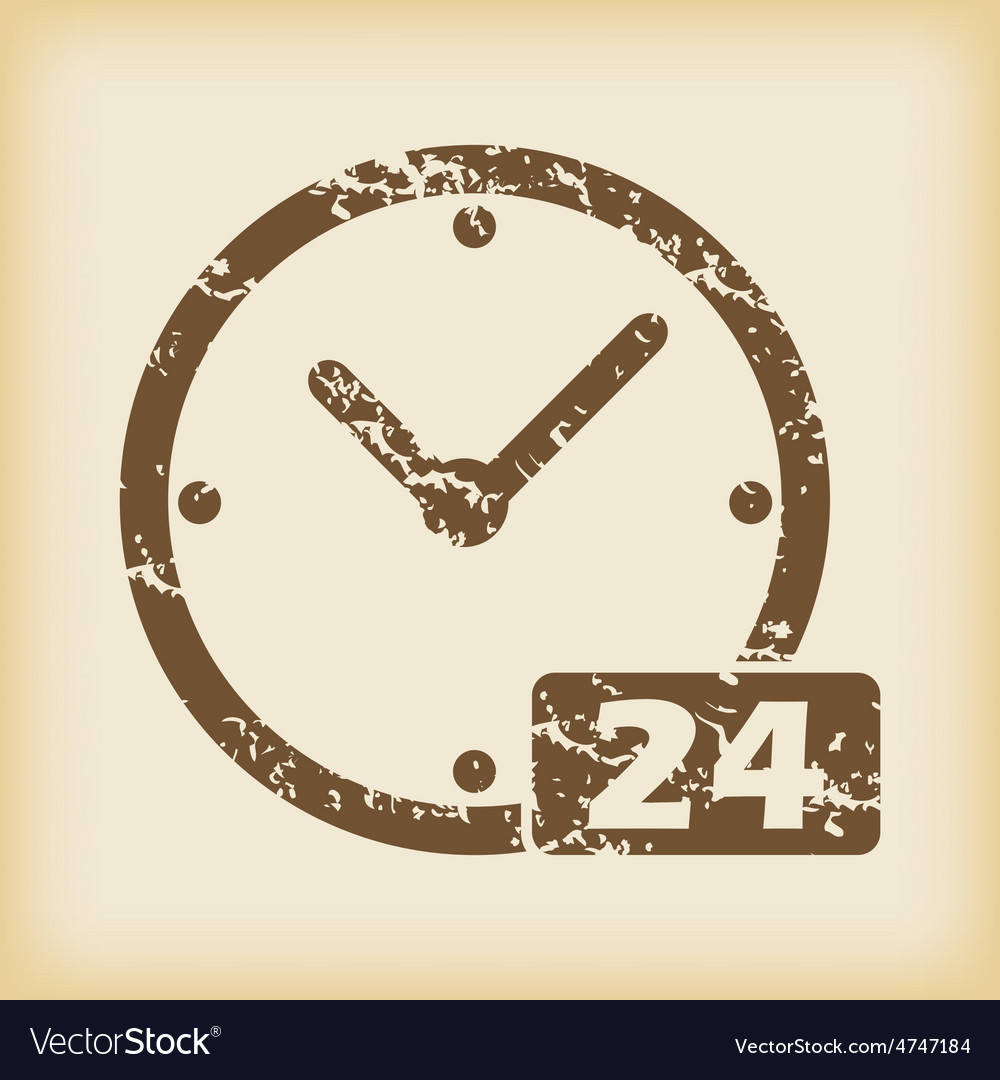 Grungy 24 hours icon vector | Price: 1 Credit (USD $1)