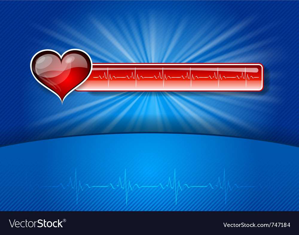Heart cardiogram on the blue background vector | Price: 1 Credit (USD $1)