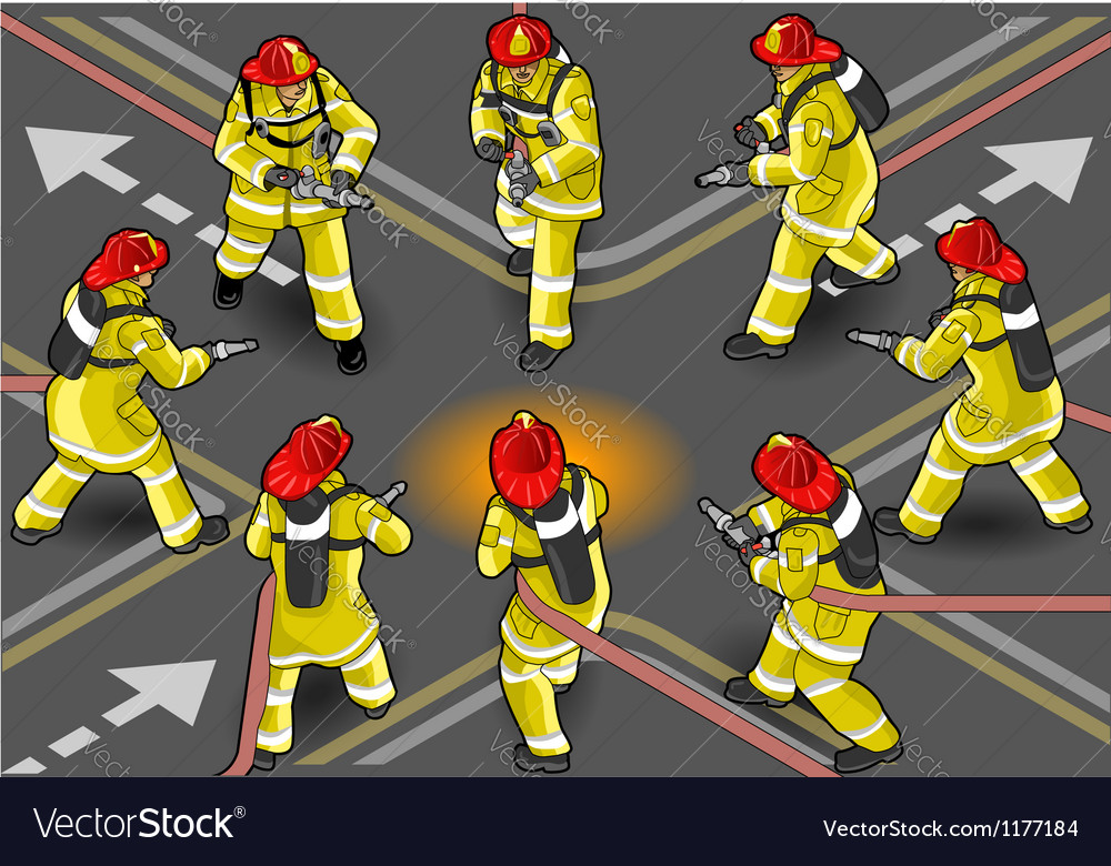 Isometric firefighter extinguisher in eight vector | Price: 5 Credit (USD $5)