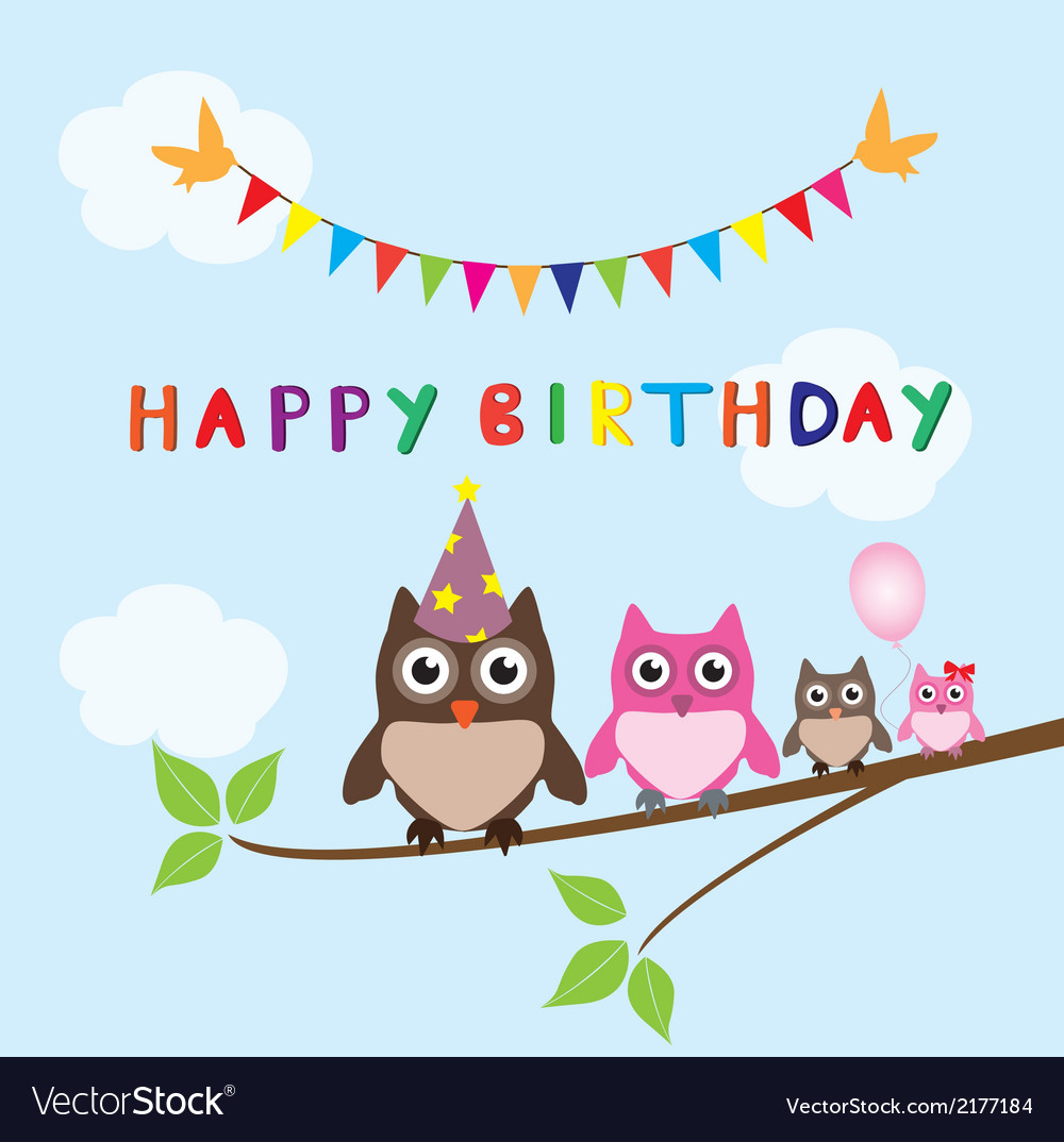 Owl family happy birthday vector | Price: 1 Credit (USD $1)