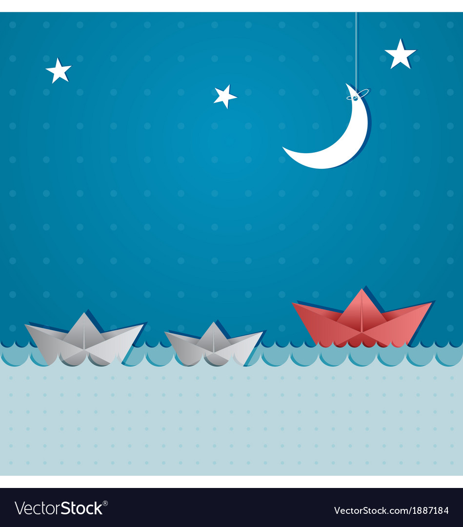 Paper boats sailing vector | Price: 1 Credit (USD $1)