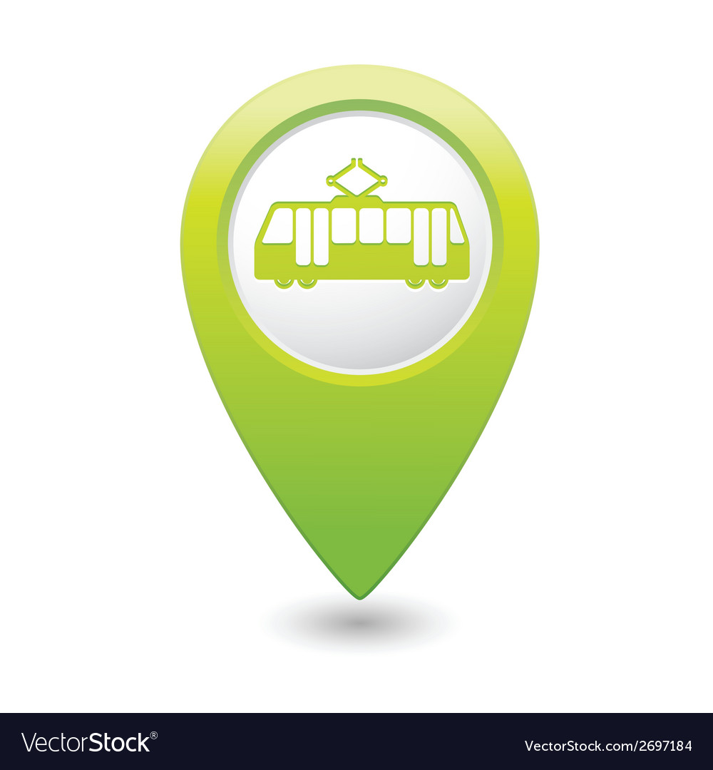 Tram icon green map pointer vector | Price: 1 Credit (USD $1)