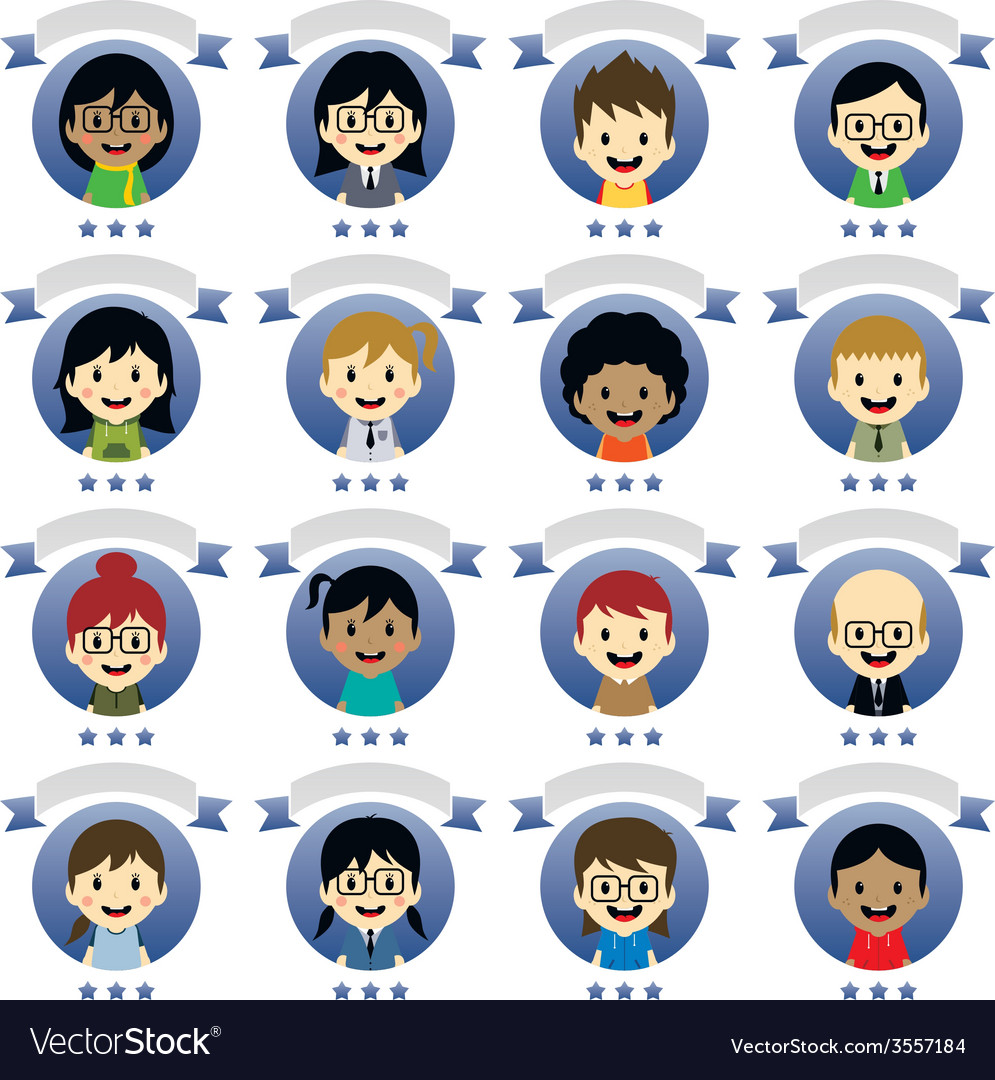 Various people cartoon character vector | Price: 1 Credit (USD $1)