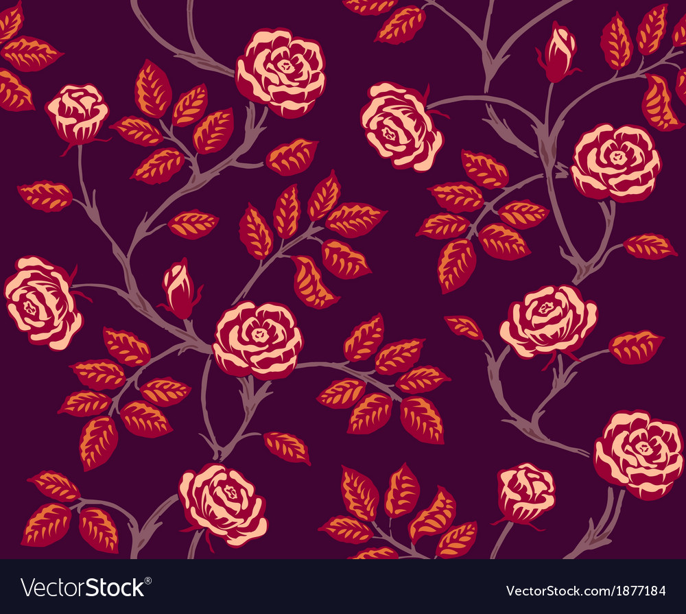Vintage floral seamless pattern classic hand drawn vector | Price: 1 Credit (USD $1)