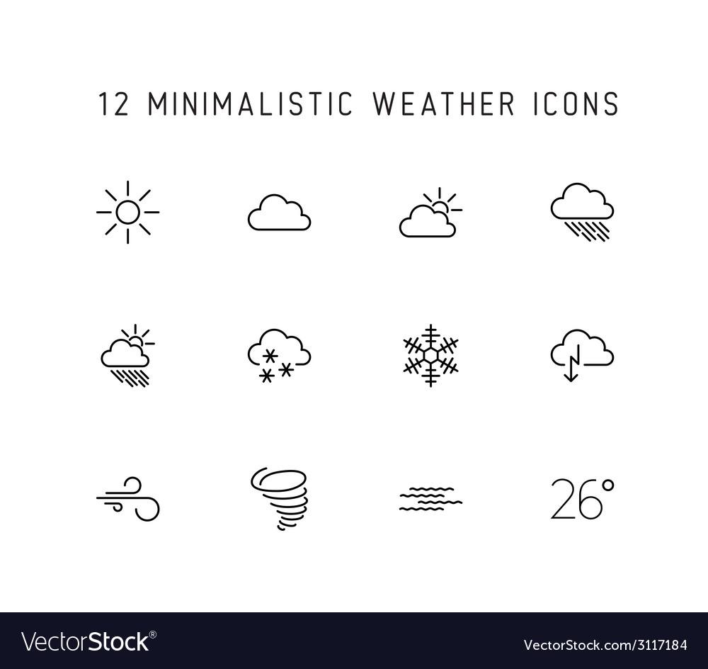 Weather thin line icon set vector | Price: 1 Credit (USD $1)