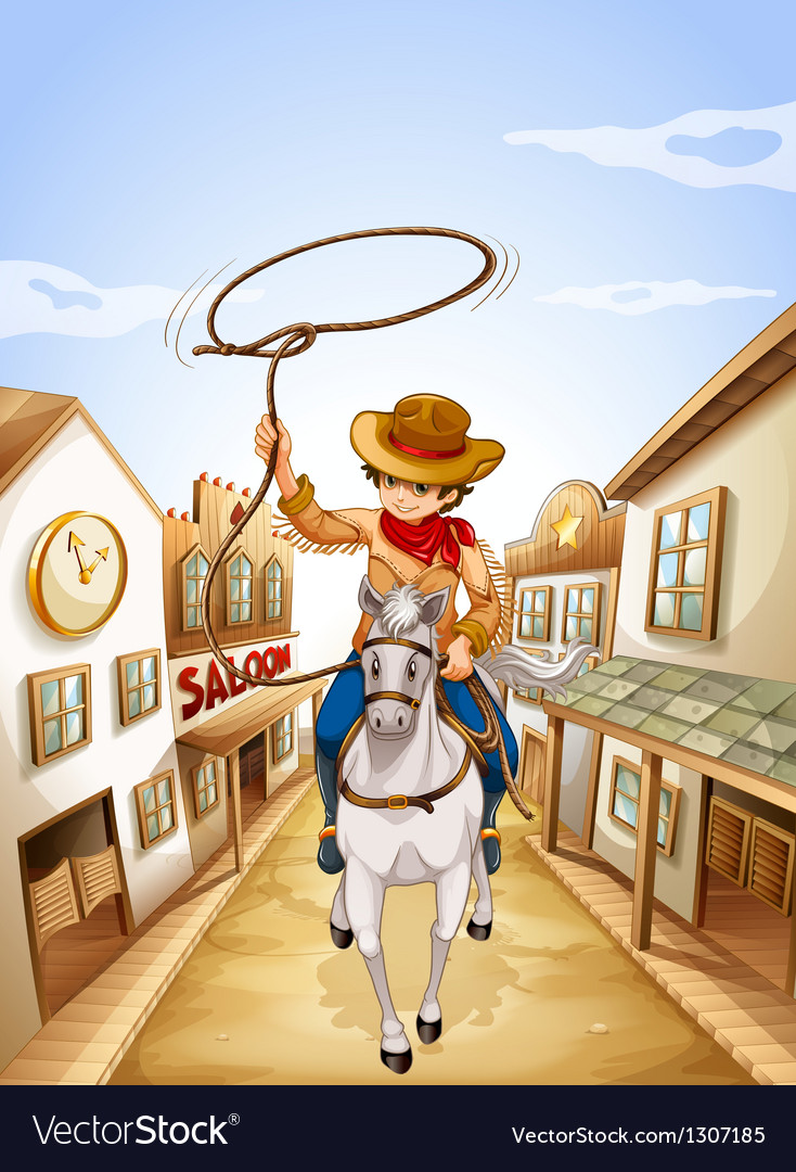 A boy riding in a horse holding a rope vector | Price: 1 Credit (USD $1)