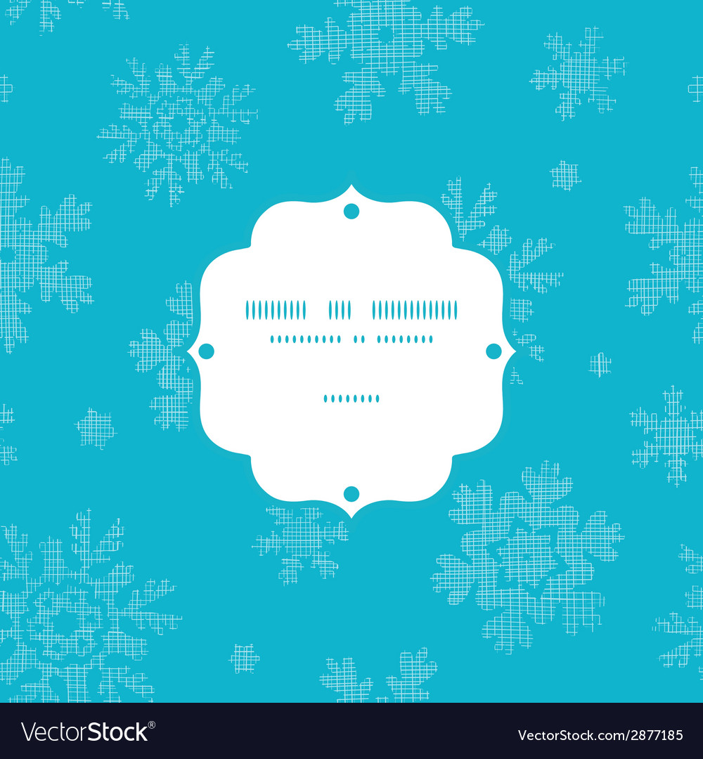 Blue lace snowflakes textile frame seamless vector | Price: 1 Credit (USD $1)