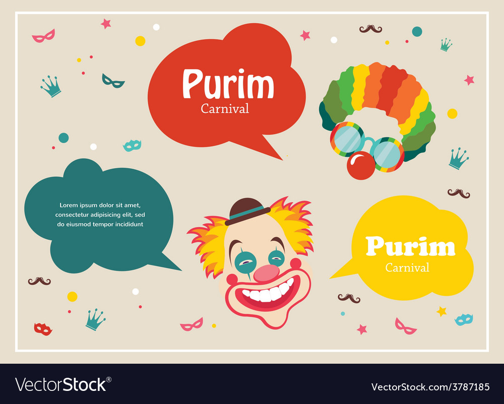 Card for jewish holiday purim with clown and vector | Price: 1 Credit (USD $1)