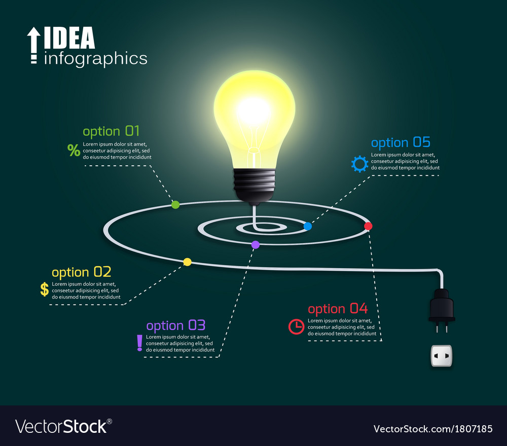 Creative light bulb with options vector | Price: 1 Credit (USD $1)