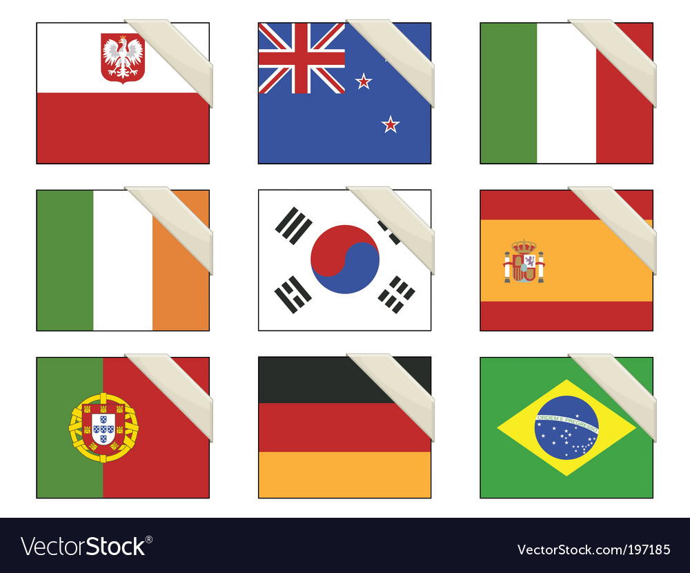 Flags with ribbons vector | Price: 1 Credit (USD $1)