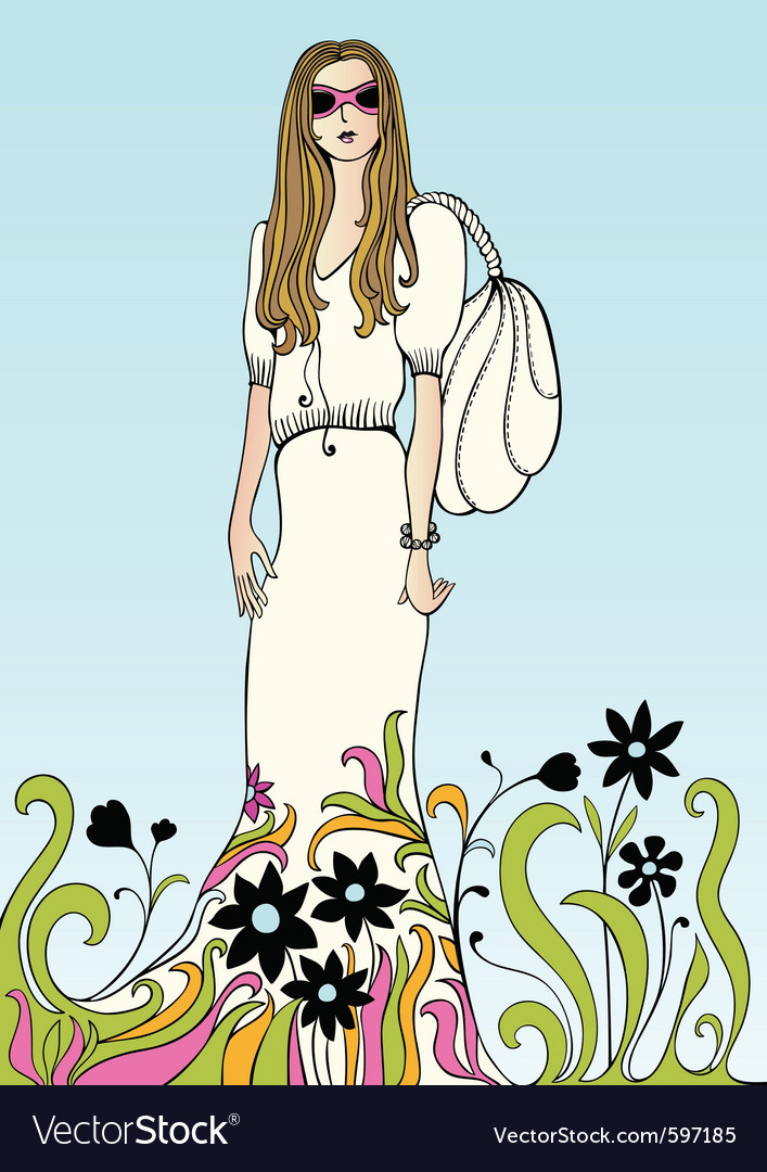 Flower power girl vector | Price: 1 Credit (USD $1)