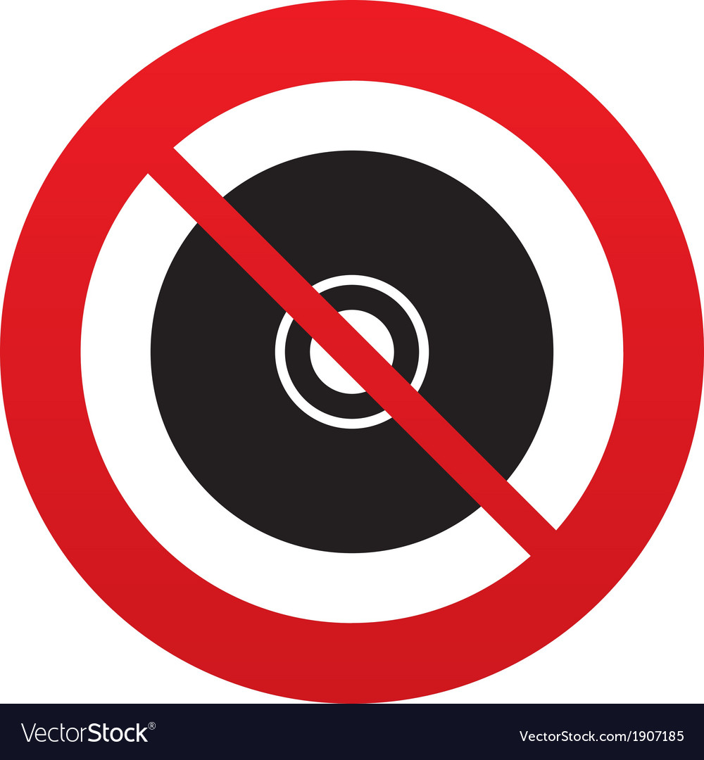 No cd or dvd sign icon compact disc symbol vector | Price: 1 Credit (USD $1)