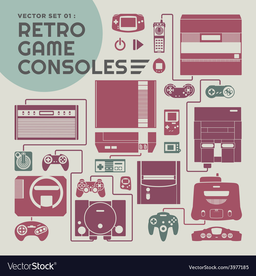 Retro game consoles vector | Price: 1 Credit (USD $1)