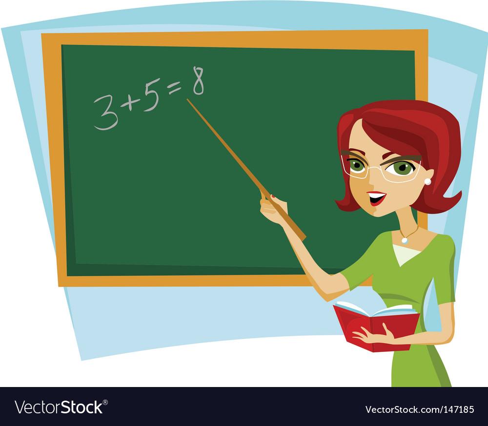 School teacher at blackboard vector | Price: 1 Credit (USD $1)