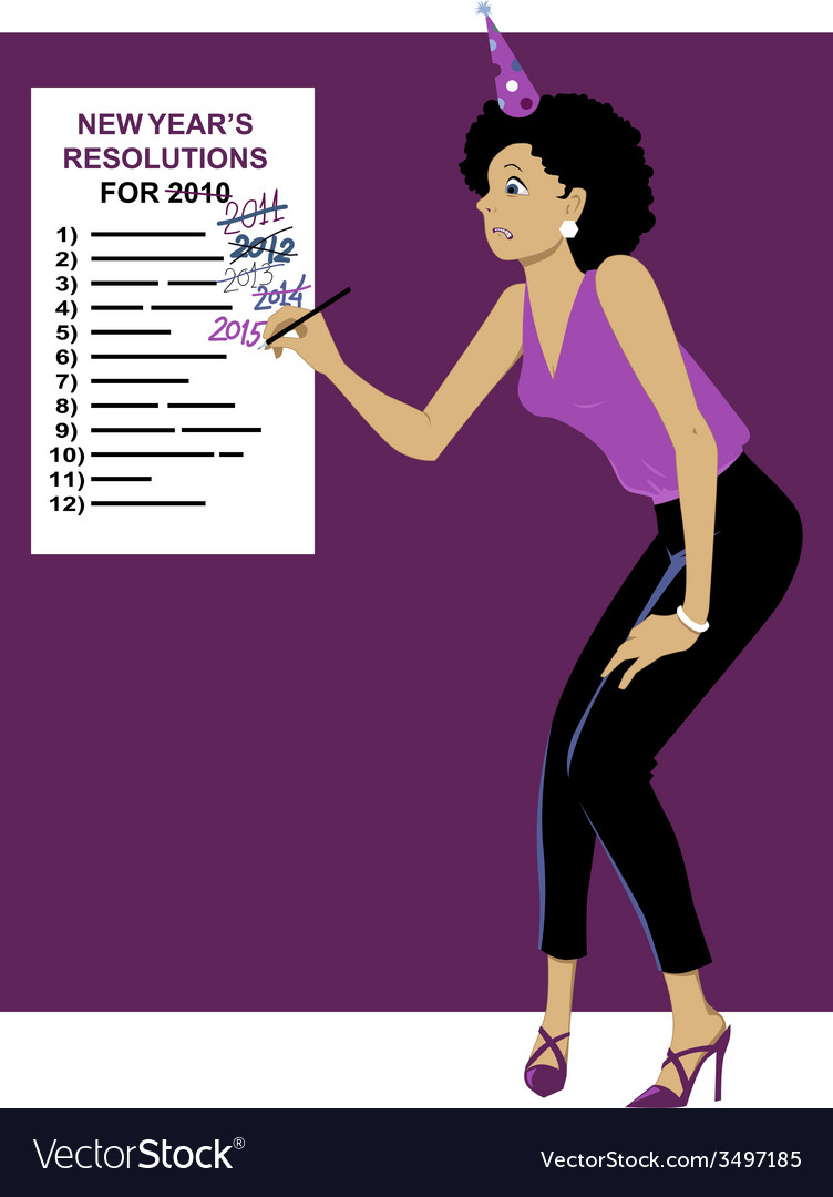 Sticking to your new year resolutions vector | Price: 1 Credit (USD $1)