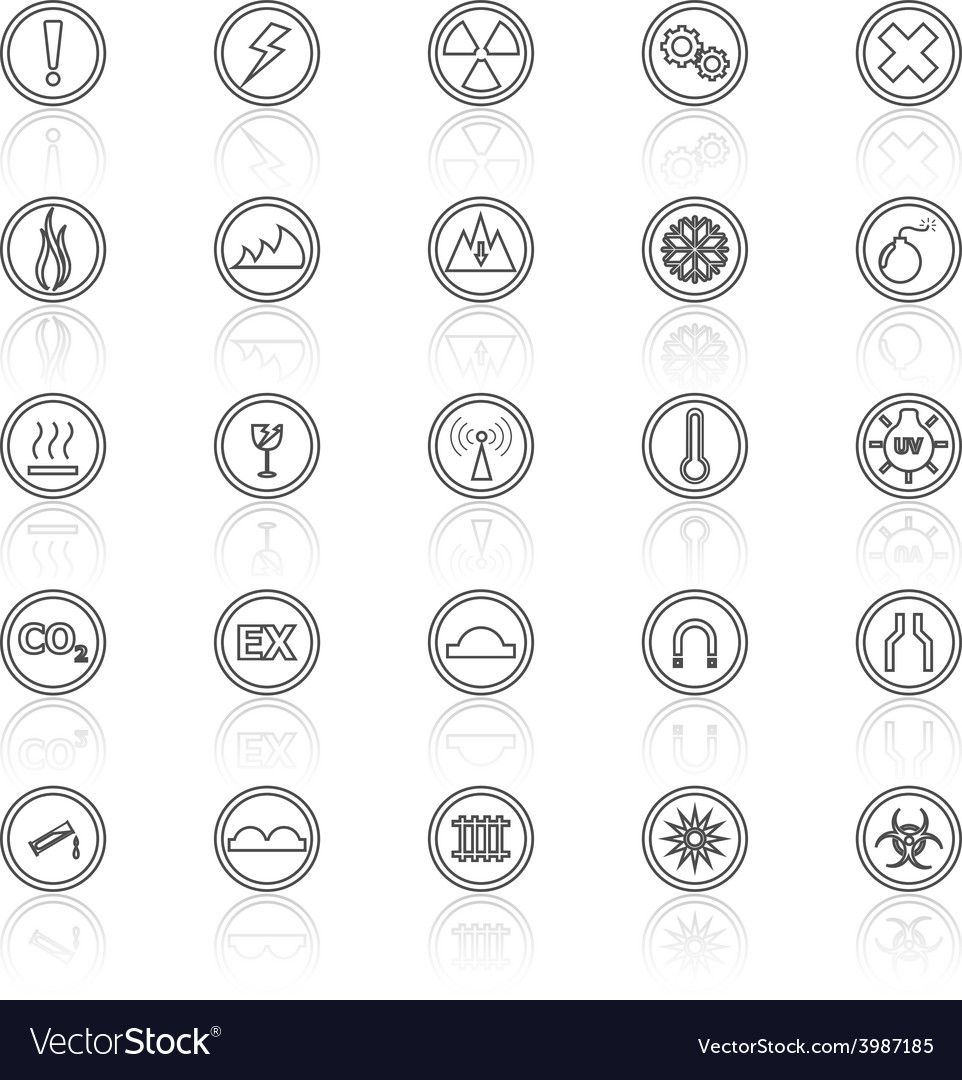 Warning sign line icons with reflect on white vector | Price: 1 Credit (USD $1)